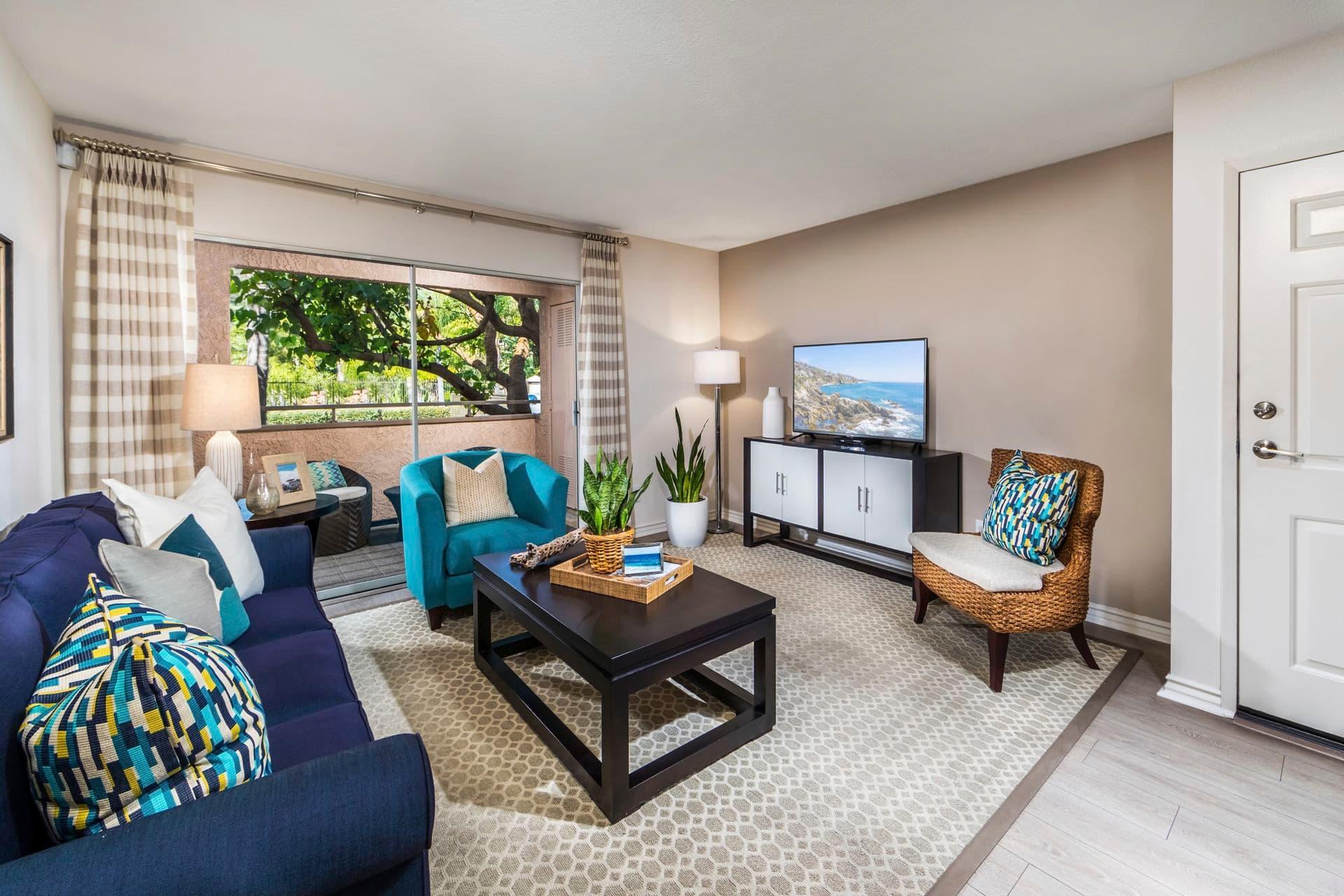 Interior view of living room at Solazzo Apartment Homes in La Jolla, CA.
