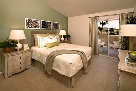 Interior view of Bedroom at The Village Mission Valley Apartment Homes in San Diego, CA.
