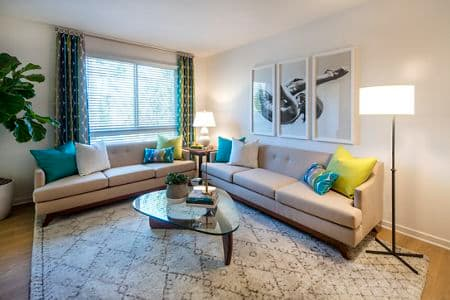 Interior view of living room of The Village Mission Valley Apartment Homes in San Diego, CA.