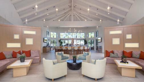 Interior view of The Clubhouse at The Village Mission Valley Apartment Homes in San Diego, CA.