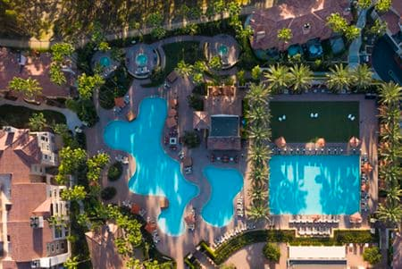 Aerial view of pool at The Village Mission Valley Apartment Homes in San Diego, CA.