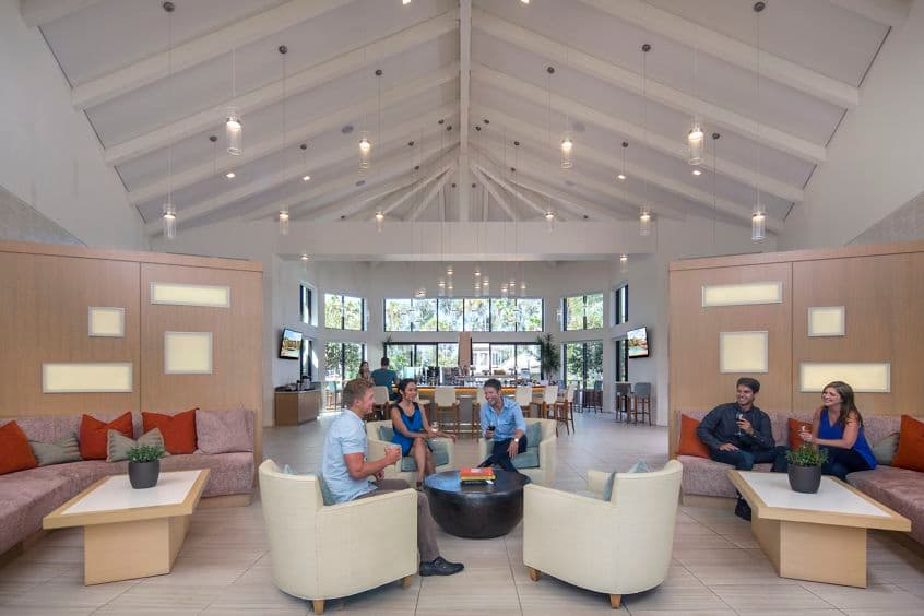Interior view of the clubhouse at The Village Mission Valley Apartment Communities in San Diego.