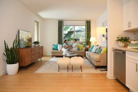 Interior view of living room at The Village Mission Valley Apartment Homes in Mission Valley, CA.
