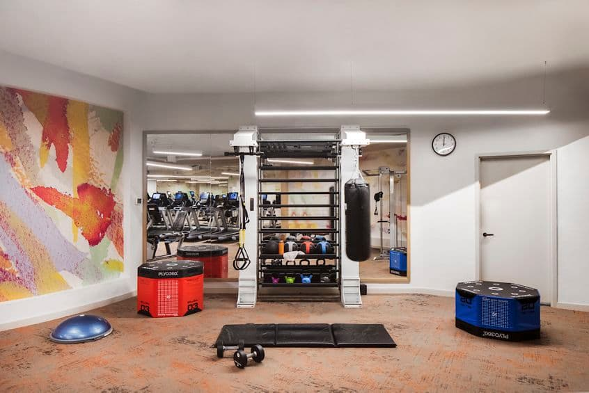 Interior view of fitness center at The Villas of Renaissance Apartment Homes in San Diego, CA.