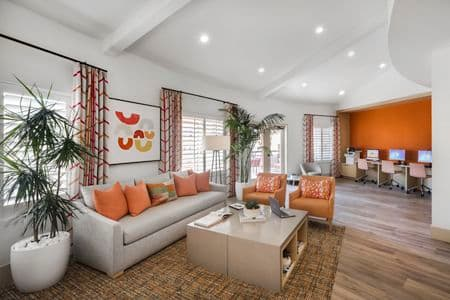 Interior view of iLounge Business Center at The Villas of Renaissance Apartment Homes in San Diego, CA.
