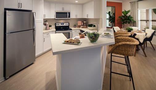 View of  kitchen at The Villas of Renaissance Apartment Homes in La Jolla, CA.