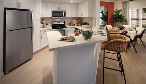 View of  kitchen at The Villas of Renaissance Apartment Homes in La Jolla, CA.