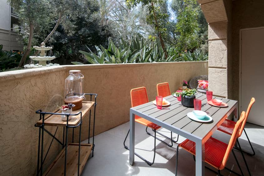 Exterior view of patio at The Villas of Renaissance Apartment Homes in La Jolla, CA.