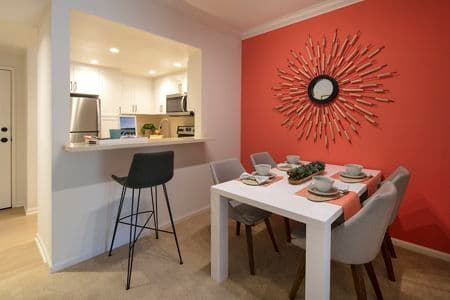 View of dining room at The Villas of Renaissance Apartment Homes in La Jolla, CA.