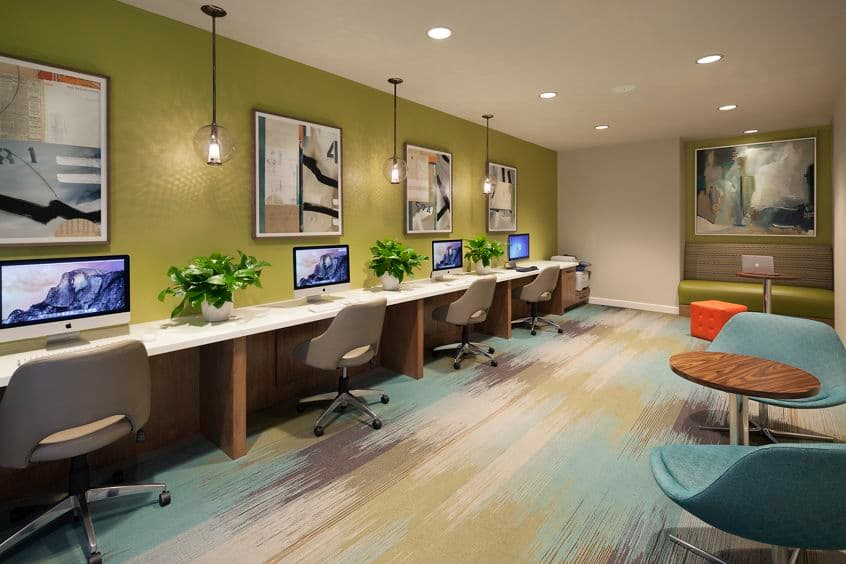 Interior view of business center at Torrey Hills Apartment Homes in San Diego, CA.