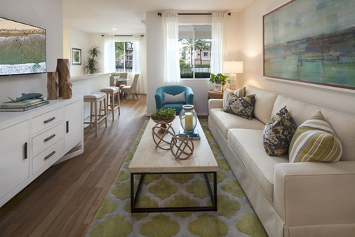 Interior view of living room at Torrey Hills Apartment Homes in San Diego, CA.