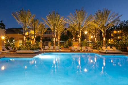 Exterior view of pool at Torrey Hills Apartment Homes in San Diego, CA.