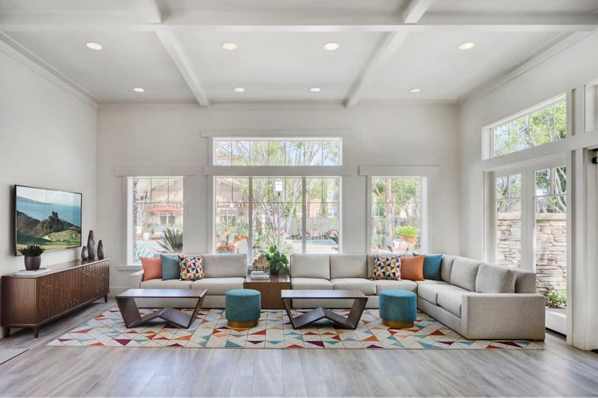 Interior view of clubhouse at Torrey Ridge Apartment Homes in San Diego, CA.