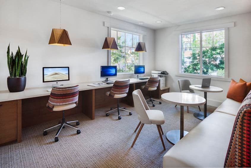 Interior view of business center at Torrey Ridge Apartment Homes in San Diego, CA.