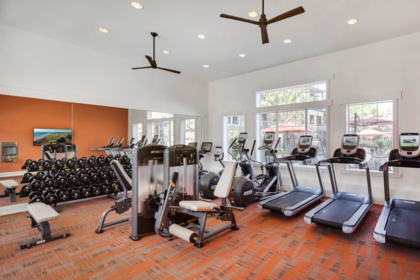 Interior view of fitness center at Torrey Ridge Apartment Homes in San Diego, CA.