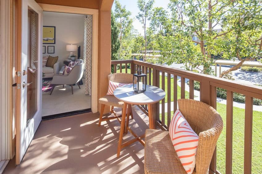 Balcony view of Torrey Ridge Apartment Homes in Carmel Valley, CA.