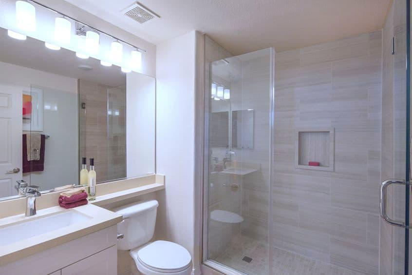 View of bathroom at Torrey Ridge Apartment Homes in Carmel Valley, CA.