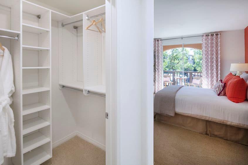 View of bedroom at Torrey Ridge Apartment Homes in Carmel Valley, CA.
