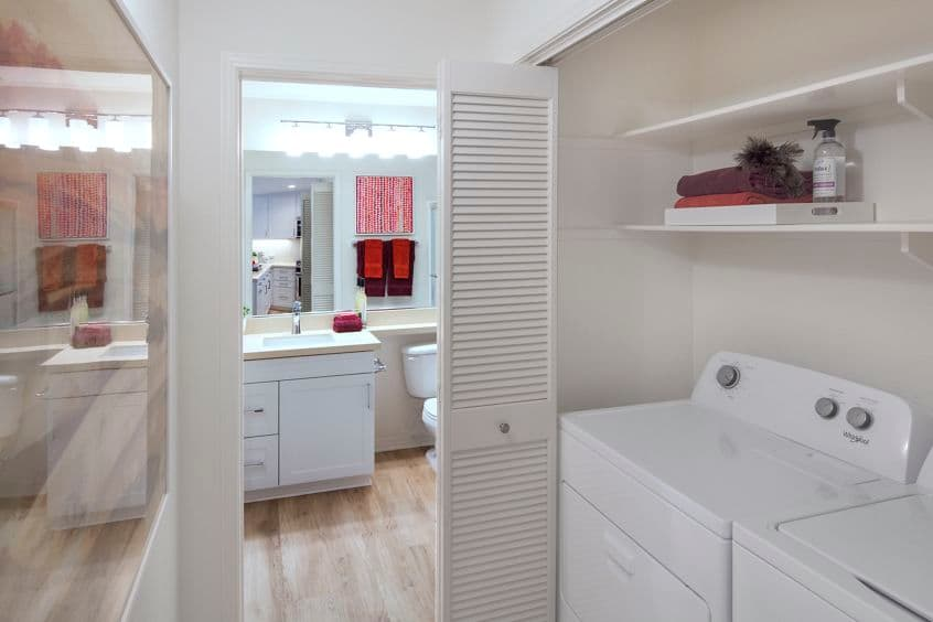 View of washer and dryer at Torrey Ridge Apartment Homes in Carmel Valley, CA.