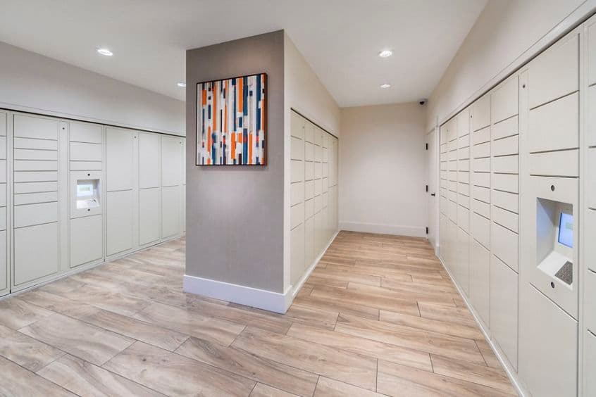 Interior view of parcel lockers at Torrey Ridge Apartment Homes in San Diego, CA.