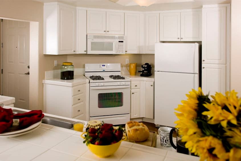 Interior view of kitchen at Torrey Villas Apartment Homes. Bowers 2008. Hard Drive Submission - April 2008.
