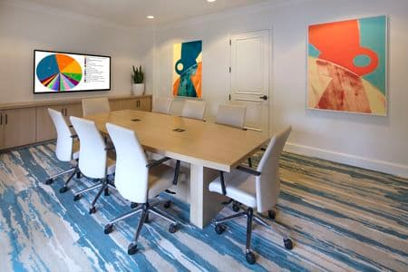 Interior view of business center conference room at Torrey Villas Apartment Homes in San Diego, CA.