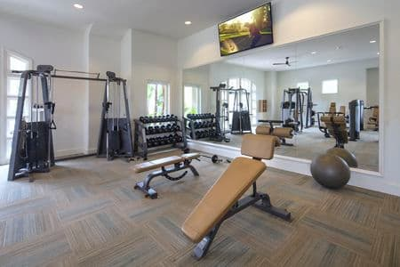 Interior view of fitness center at Torrey Villas Apartment Homes in San Diego, CA.