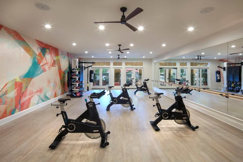 Interior view of spin room at Torrey Villas Apartment Homes in San Diego, CA.