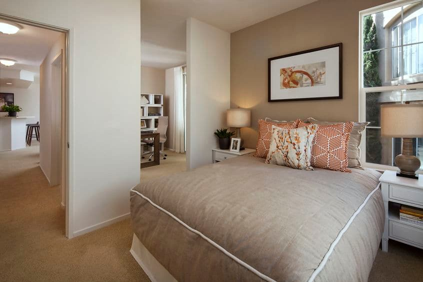 Interior view of bedroom at Torrey Villas Apartment Homes in San Diego, CA.