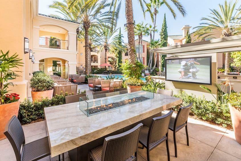 Exterior view of pool area at Torrey Villas Apartment Homes.