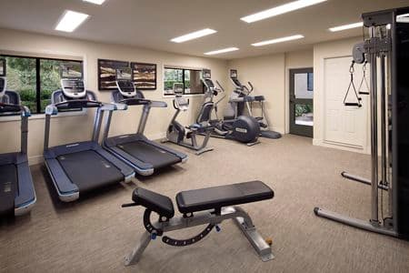 Interior view of fitness center at Westwood Apartment Homes in San Diego, CA.