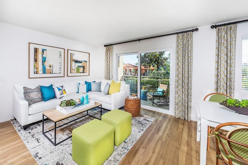 Interior view of living room at Westwood Apartment Homes in San Diego, CA.