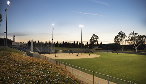 Exterior view of baseball field at Central Irvine Park in Irvine, CA.