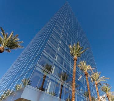 Exterior view of 200 Spectrum Center office building in Irvine Spectrum. Lamb 2016.