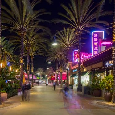 Nighttime view of Irvine Spectrum Center. Lamb 2016.
