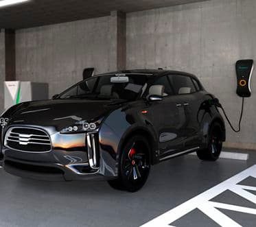 Black electric SUV recharging in parking garage. 3D rendering image