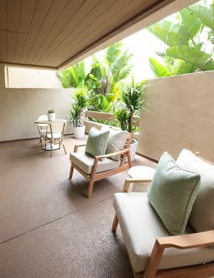 Exterior view of balcony patio at Promontory Point Apartment Communities in Newport Beach, CA.