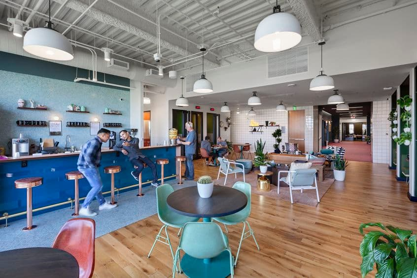Customer suite interior of WeWork at 200 Spectrum Center Drive.