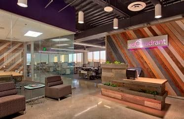 Photography of the office headquarters entrance for adQuadrant at Pacific Arts Plaza in Irvine, CA