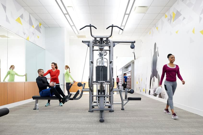 Lifestyle photography of the KINETIC fitness center in 71 S. Wacker, Chicago, IL