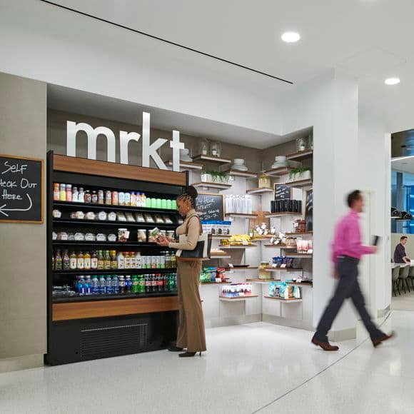 Lifestyle photography of MRKT at The Exchange in 71 S. Wacker, Chicago, IL