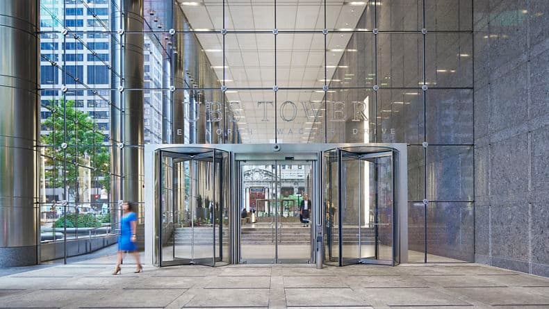Photography of the lobby at One North Wacker, Chicago, IL