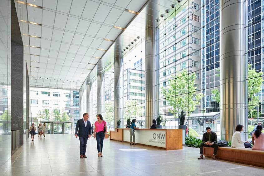 Lifestyle photography of the interior lobby at One North Wacker in Chicago, IL