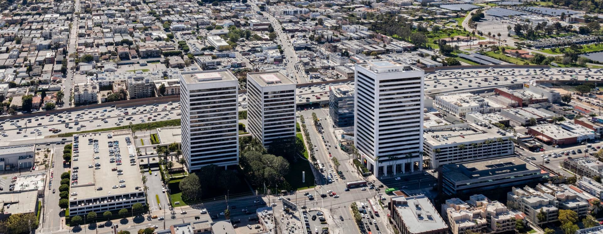 Aerial photography of Westwood Gateway, Los Angeles, CA