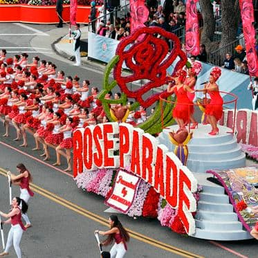 Rose Parade located in downtown Pasadena, CA