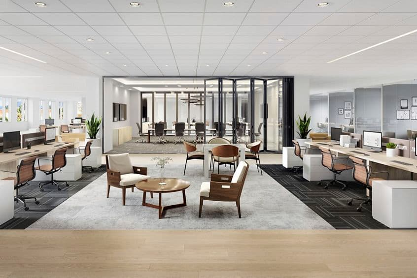 Rendering of a traditional workspace at Western Assert Plaza, Pasadena, Los Angeles, Ca