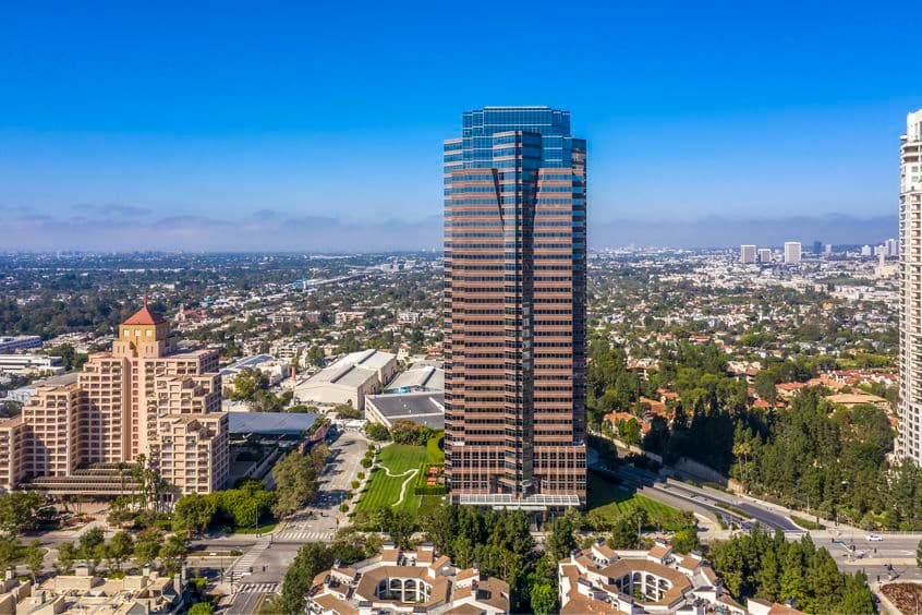 Aerial view of 2121 Avenue of the Stars Office Properties in Los Angeles, CA.
