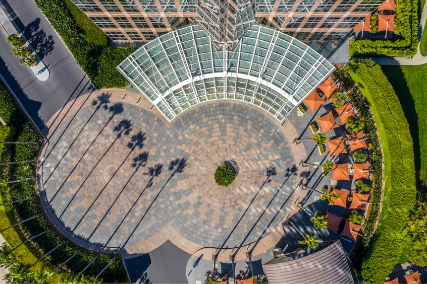 Aerial view of entrance at 2121 Avenue of the Stars Office Properties in Los Angeles, CA.