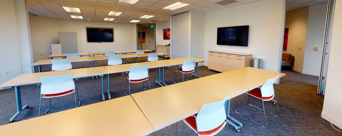 Interior view of conference center reinvestment at 2121 Avenue of the Stars in West Los Angeles, California.
