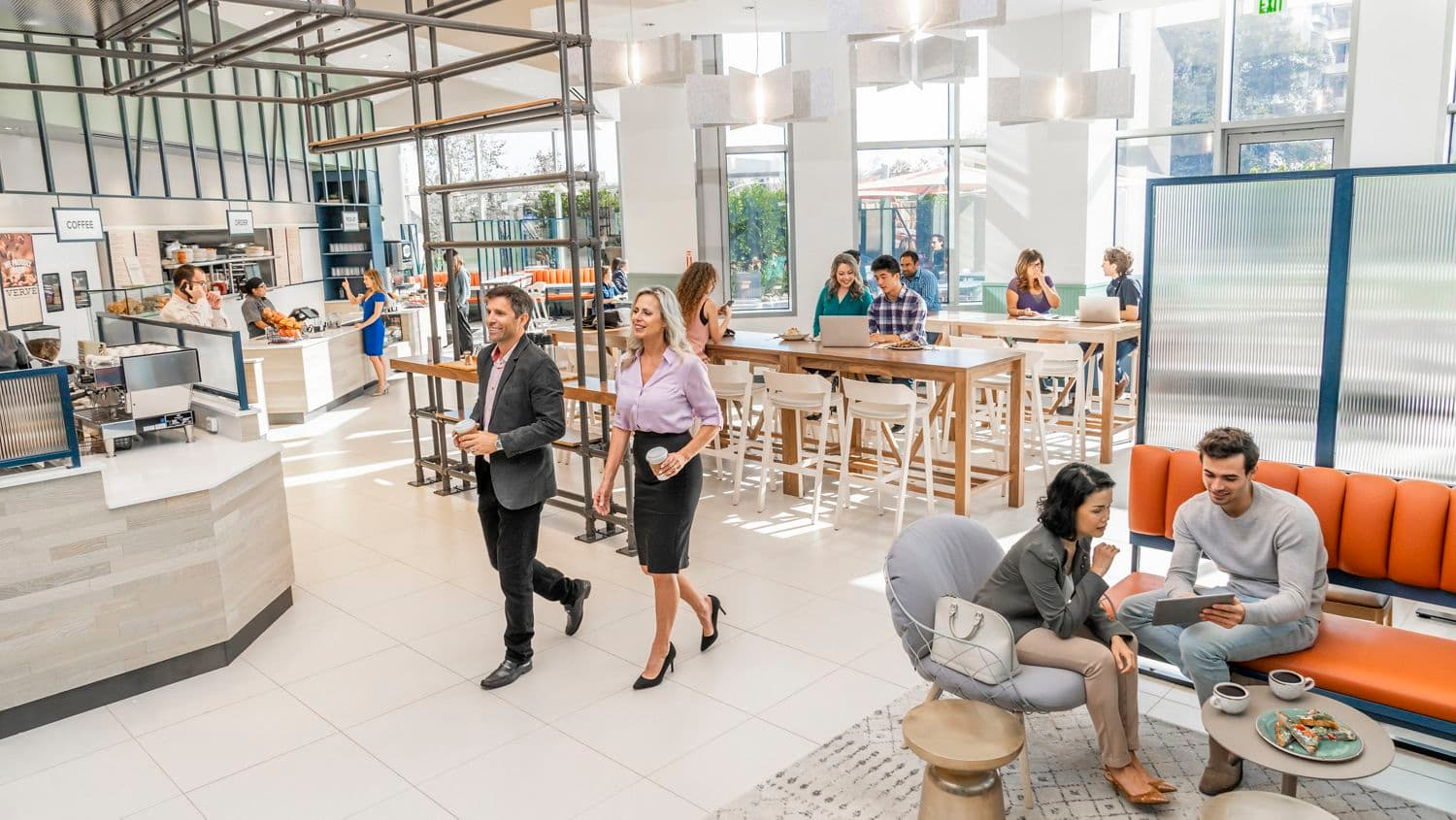 Interior view of people at Pacific Kitchen Market at 2121 Avenue of the Stars Office Properties in Los Angeles, CA.